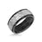 9MM Tungsten Carbide Ring - White Sandblasted Distressed Center and Bevel Edge