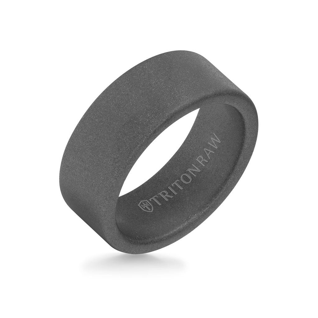 9MM Tungsten Raw Ring - Sandblasted Matte Finish and Flat Edge