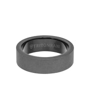 7MM Tungsten Raw Ring - Sandblasted With Inside Shine and Flat Edge