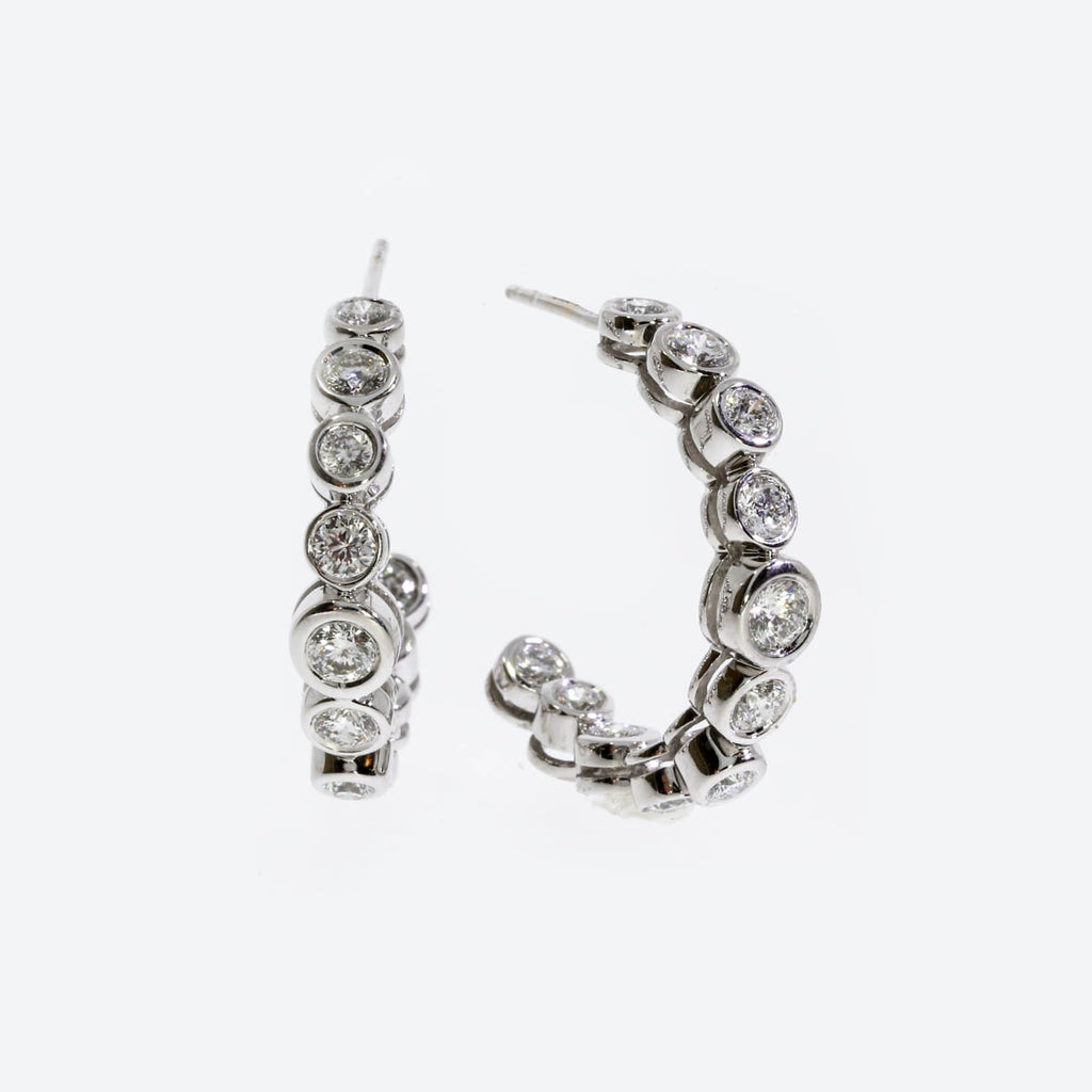 18K White Gold Frizzante Hoop Earrings