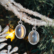 18K White Gold Cat's Eye Moonstone Gem Earrings