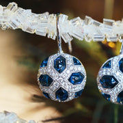 18K White Gold Blue Sapphire Diamond Earrings