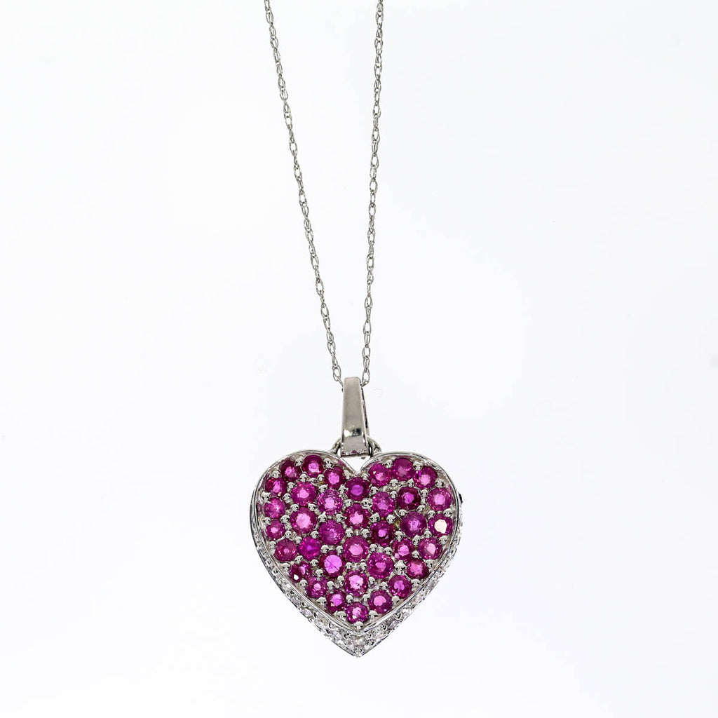 14K White Gold Ruby Heart Necklace