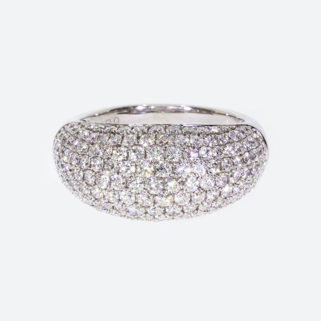 14K White Gold Pave Rounded Band
