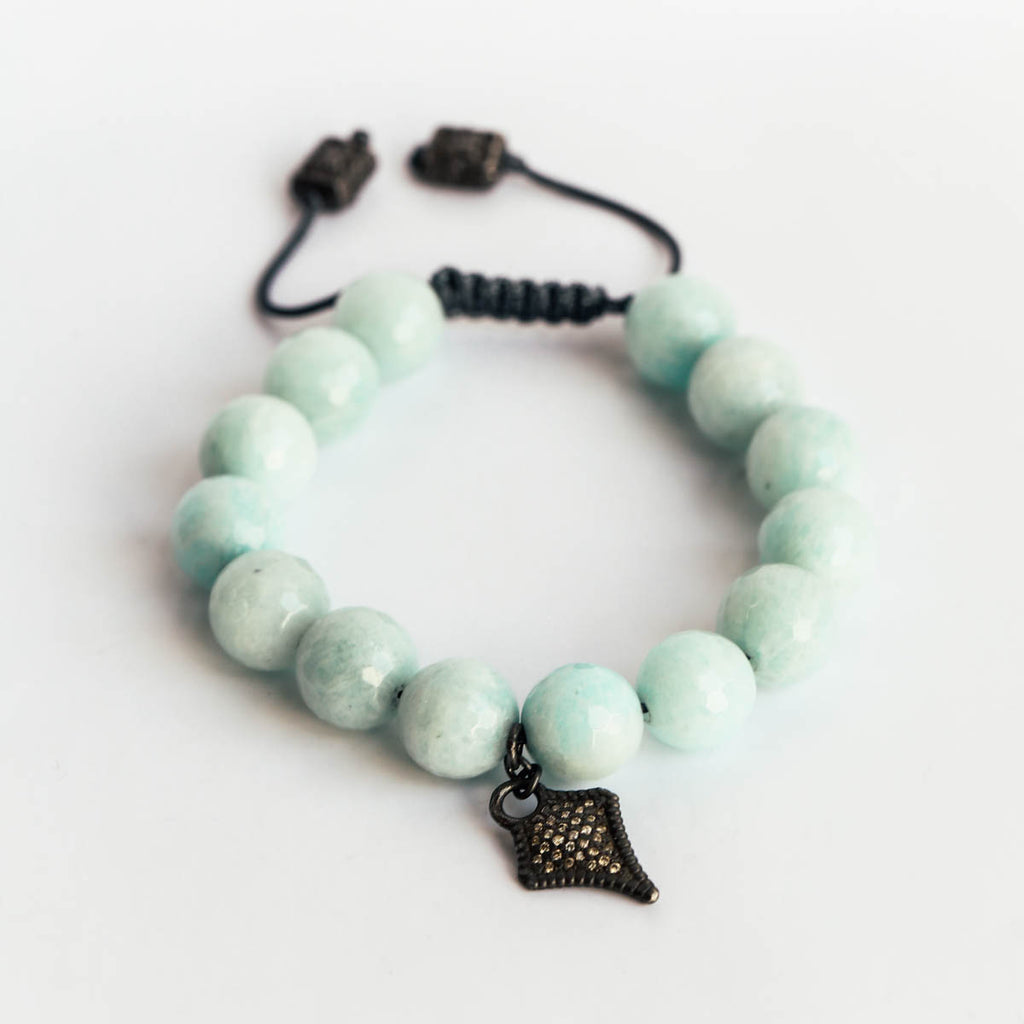 Diamond Amazonite Corded Bead Bracelet