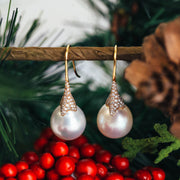 18K Pink Gold Pearl Drop Earrings