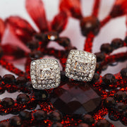 Platinum Cushion Diamond Earrings