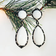 18K White Gold Black Diamond & White Agate Earrings