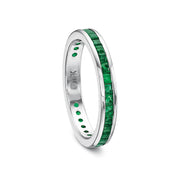 14K White Gold Green Emerald Band