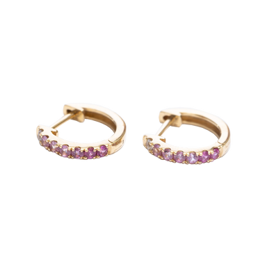 Pink & White Sapphire Huggie Earrings