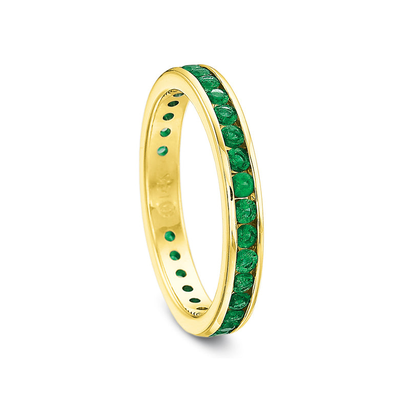 14K Yellow Gold Green Emerald Band