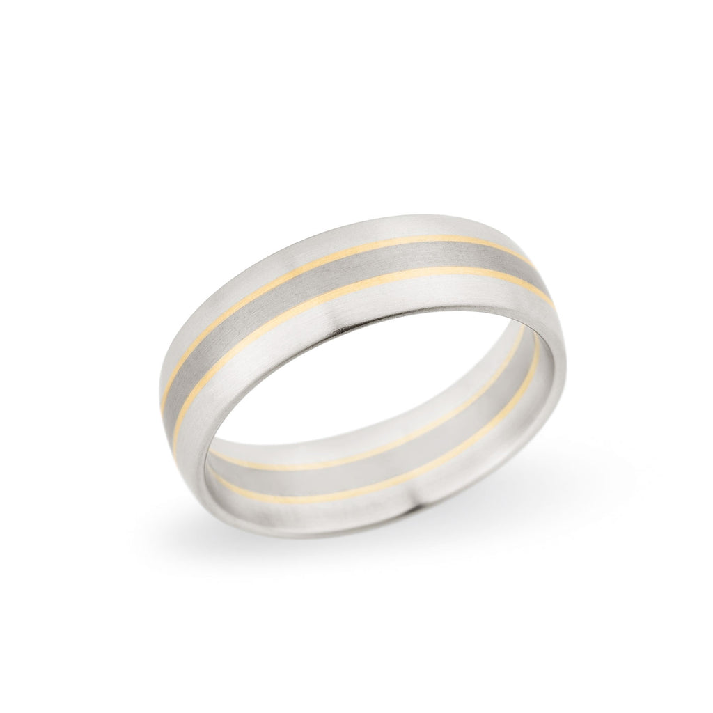 Palladium & 18K Yellow Gold 6.5mm Satin Stripe Band