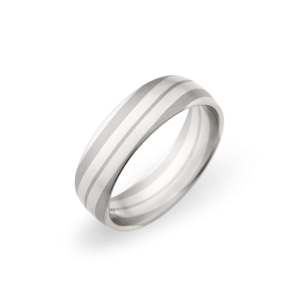 Platinum & 18K White Gold 6.5mm Mixed Layer Band