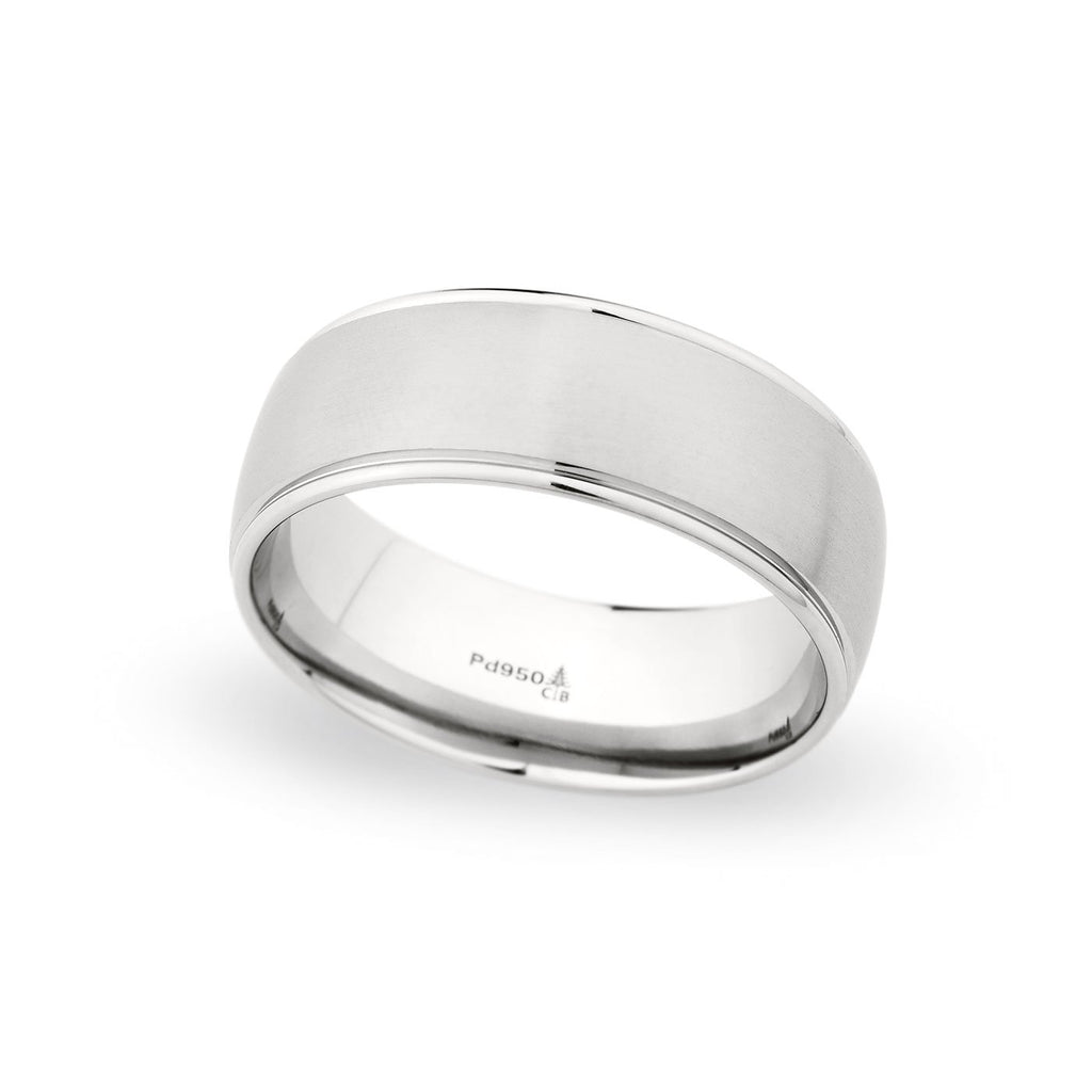 Palladium 8mm Brushed Satin Polished Edged Band