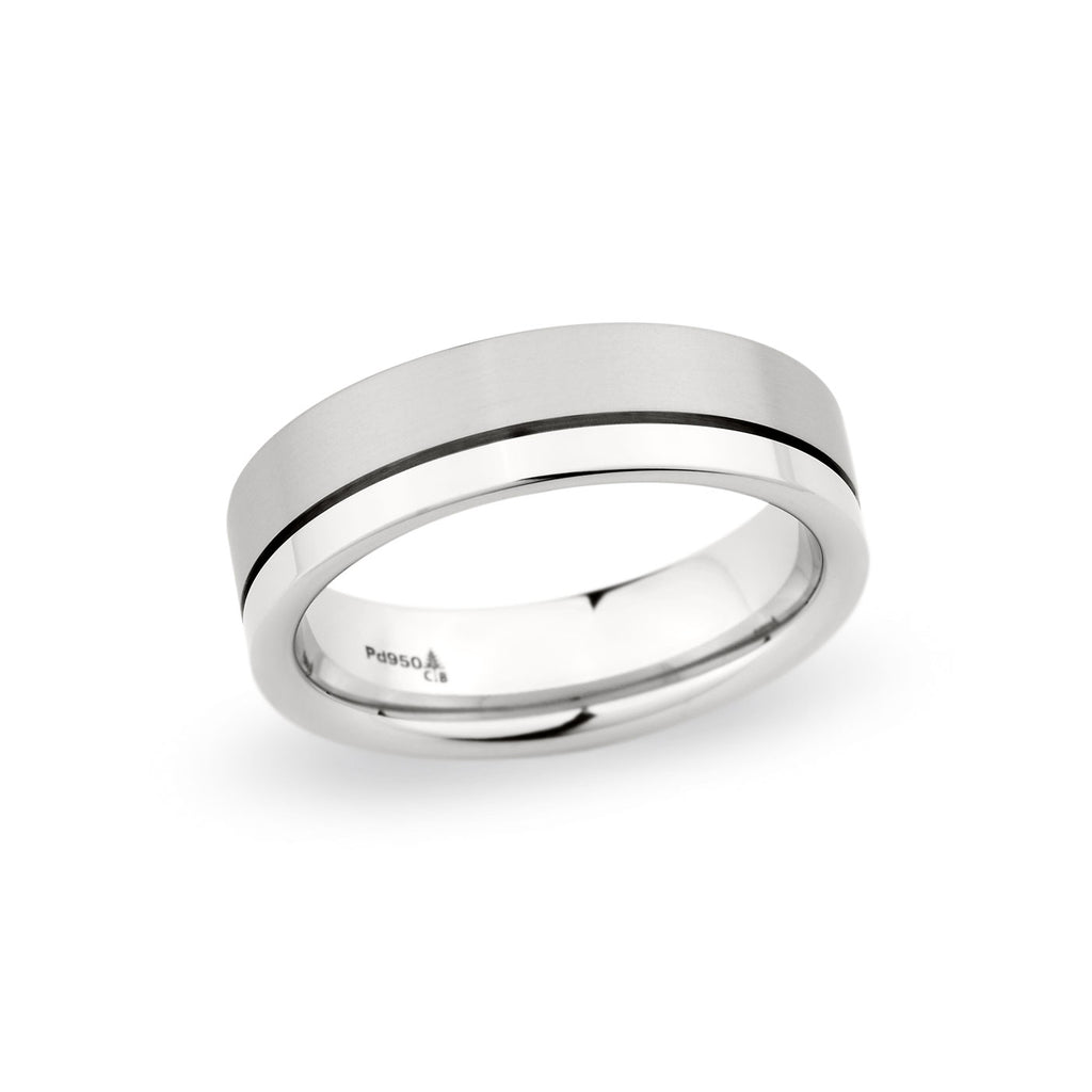 14K White Gold 6.5mm Off-Center Grooved Polished Satin Band