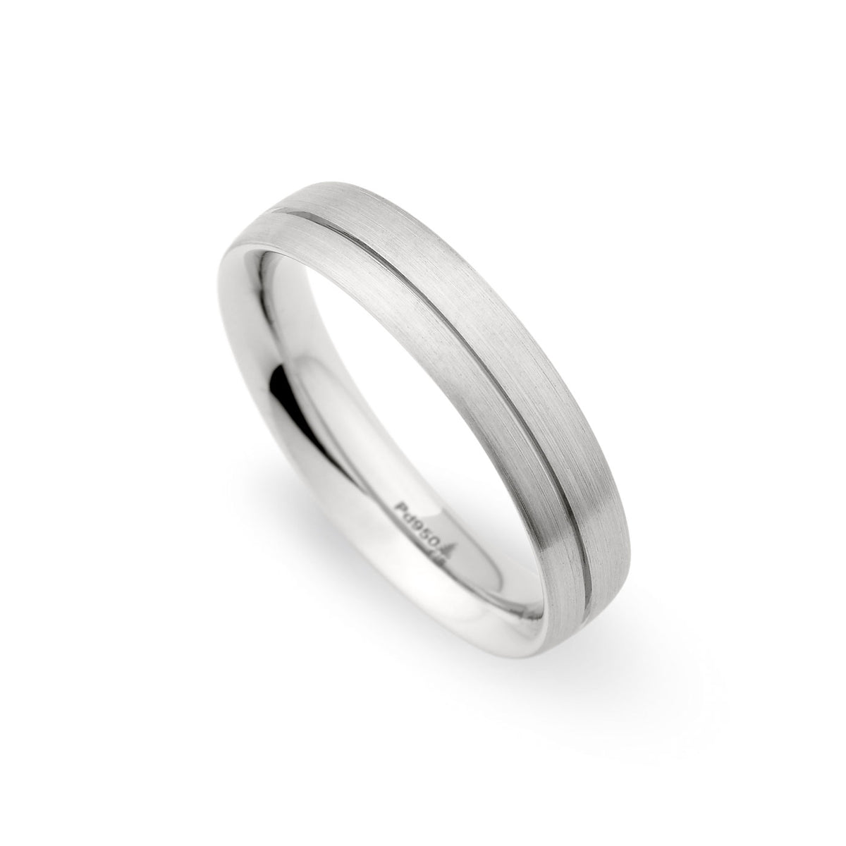 Palladium 5mm Off-Center Grooved Brushed Band