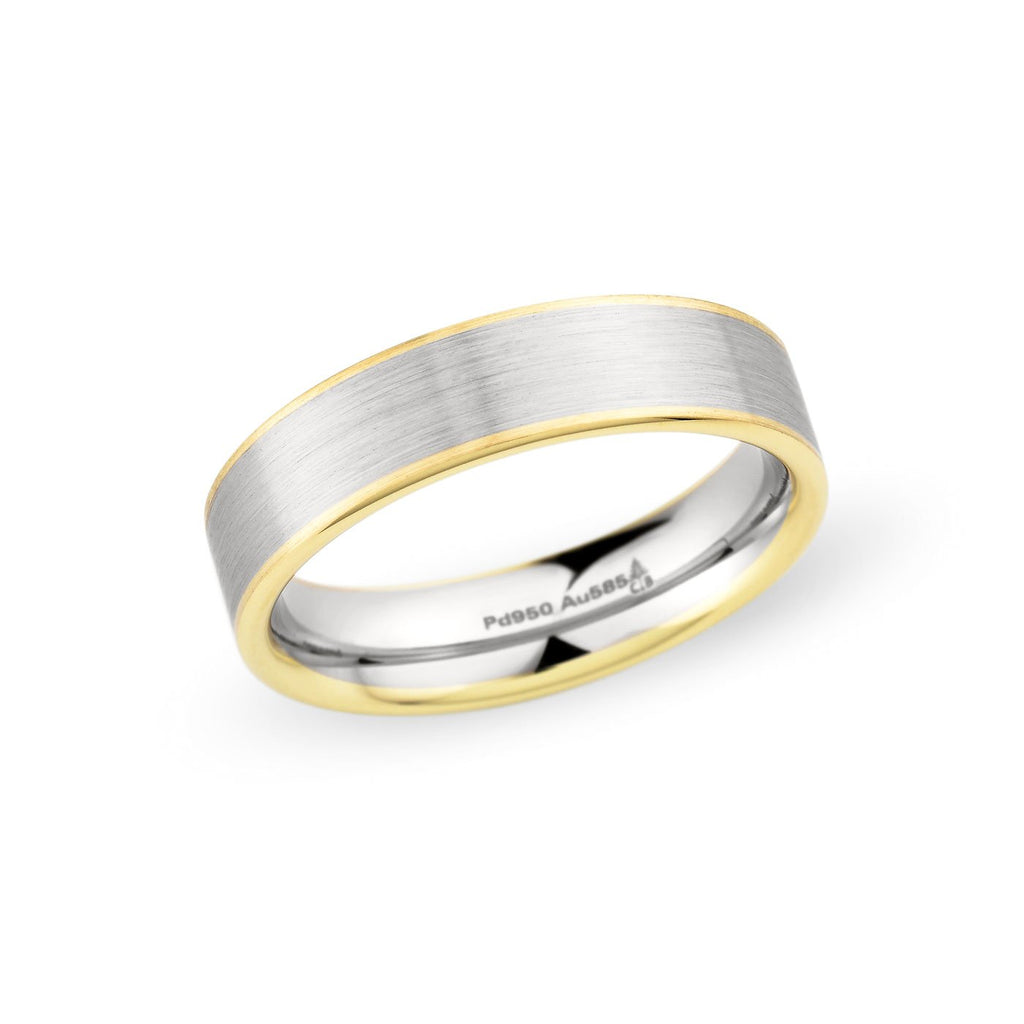 Palladium & 14K Yellow Gold 5mm Brushed Band