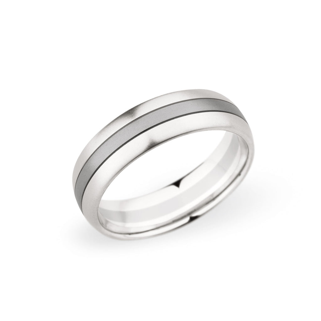 Palladium & 18K White Gold 6.5mm Brushed Center Band