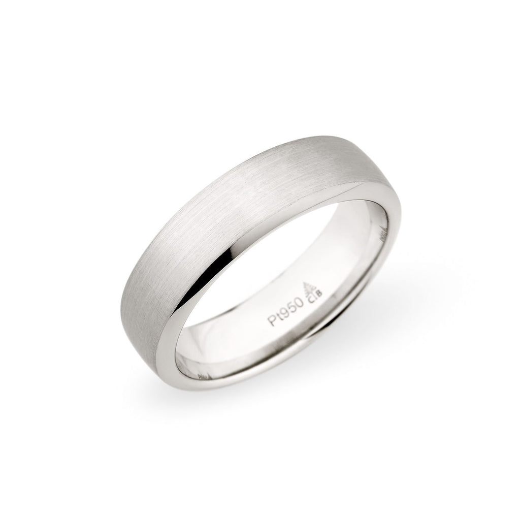 14K White Gold 6.5mm Brushed Beveled Edge Band