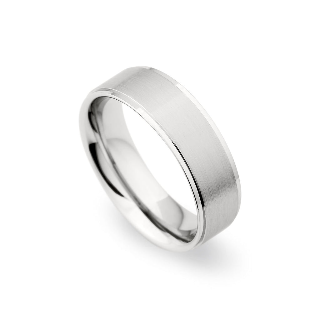 Palladium 7mm Brushed Satin Polished Edge Band