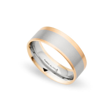 Palladium & 18K Rose Gold 8mm Brushed Uneven Edged Band