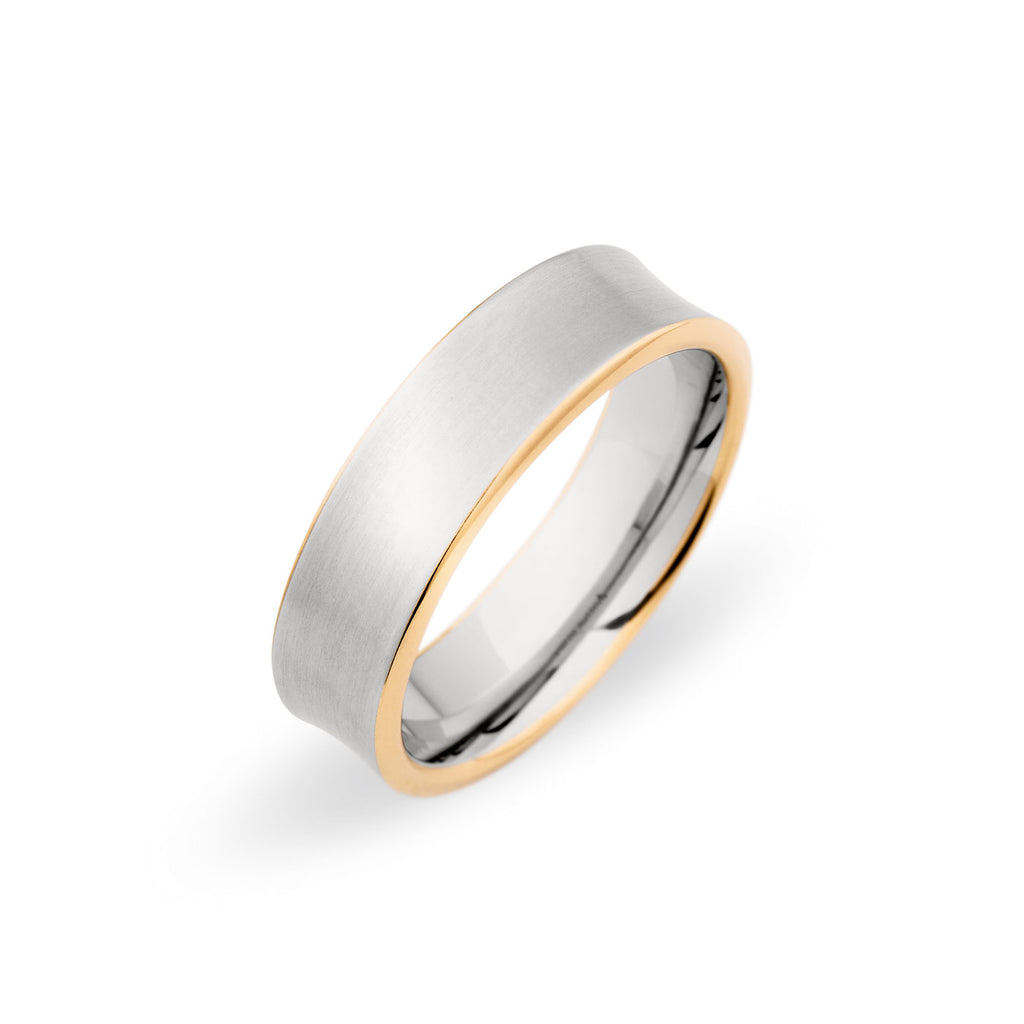 Palladium 18k Yellow Gold 65mm Brushed Band: Concave Brushed Wedding Band At Websimilar.org
