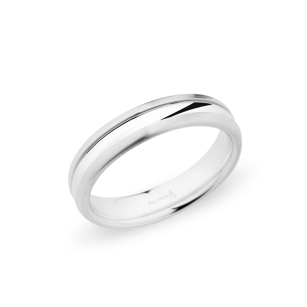 14K White Gold 5mm Polished Center Dome Brushed Edge