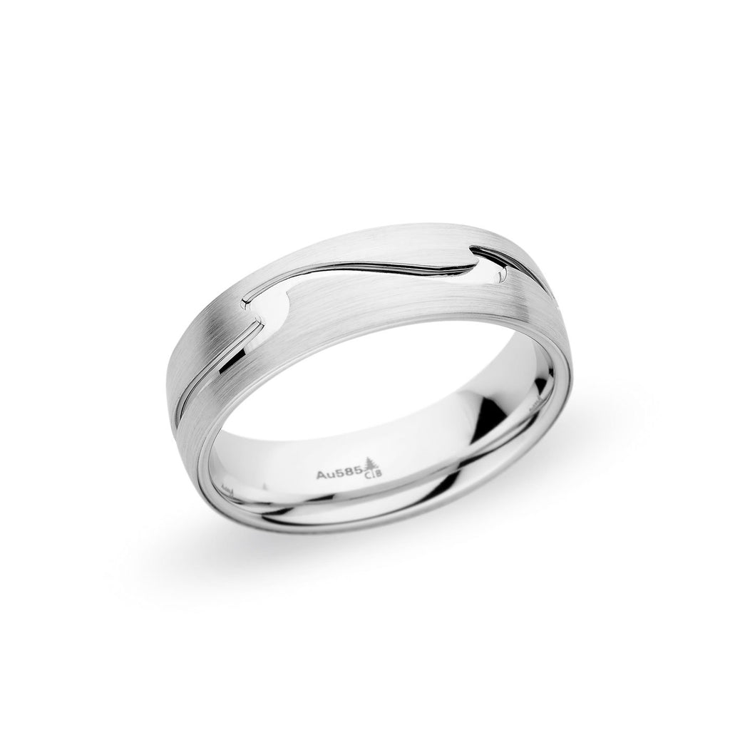 14K White Gold 6.5mm Wave Cutout Band