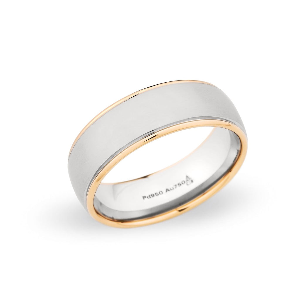 Palladium & 18K Rose Gold 7.5mm Brushed Step Edge Band