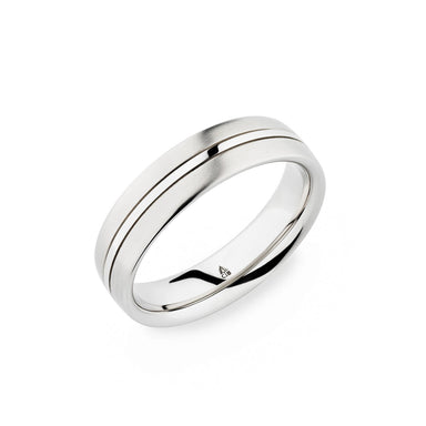 Palladium 6mm Thin Polished Center Brushed Band