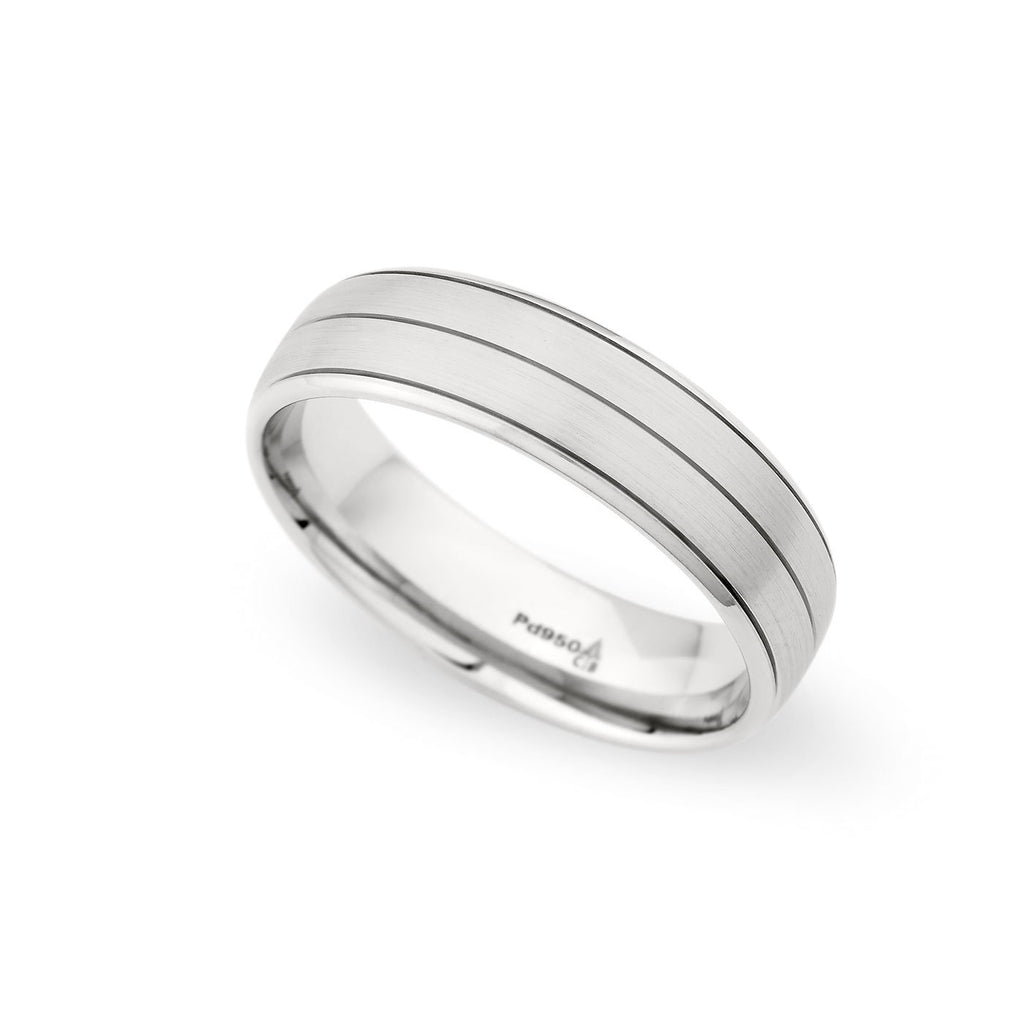 Palladium 6mm Brushed Grooved Band