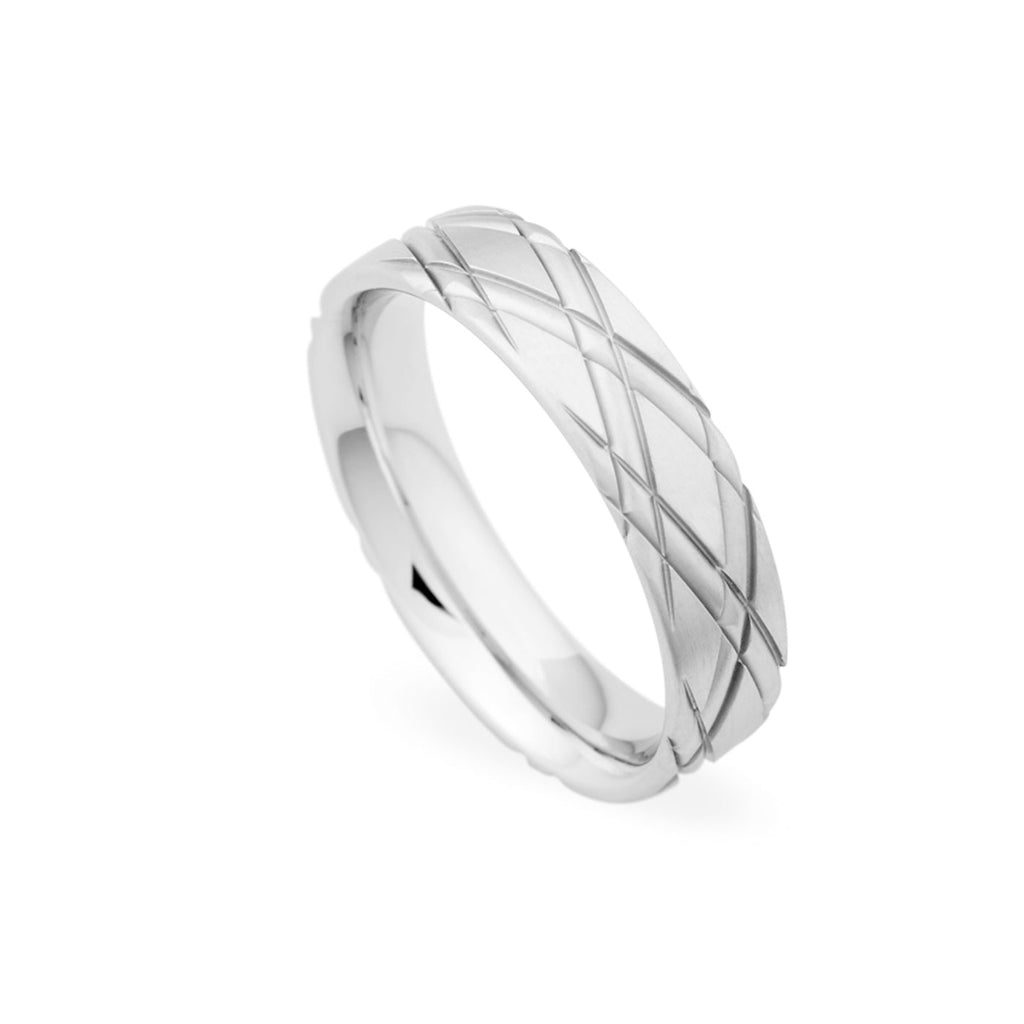 14K White Gold 5.5mm Criss Cross Grooved Brushed Band