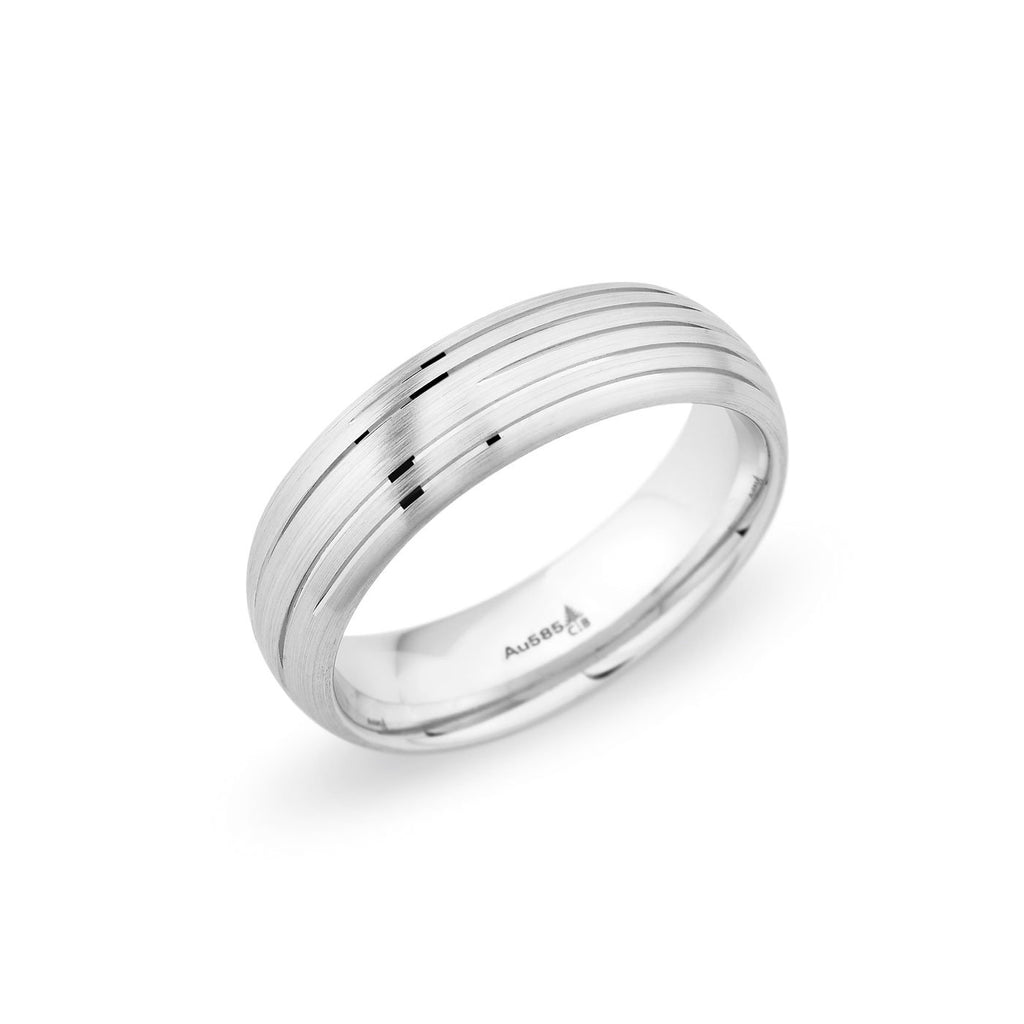 Palladium 6.5mm Brushed Grooved Band