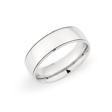 Palladium 7mm Grooved Polished Band