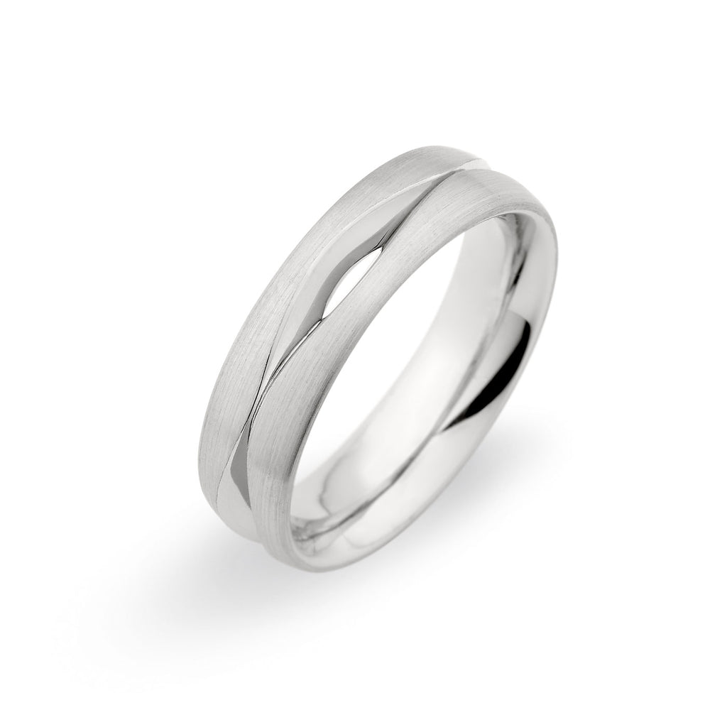 Palladium 6mm Slim Wave Cut Out Brushed Band