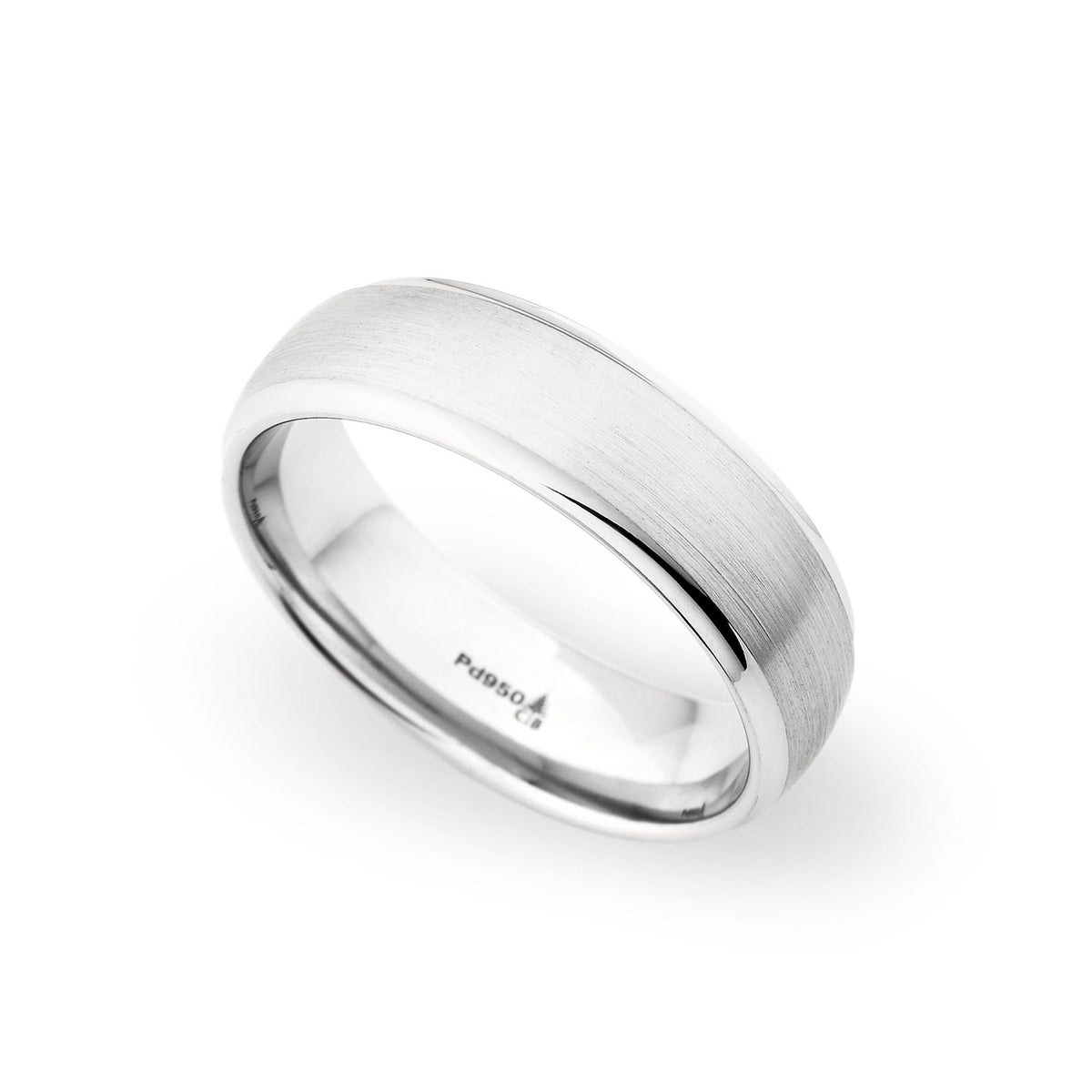 Palladium 6.5mm Brushed Raised Center Band