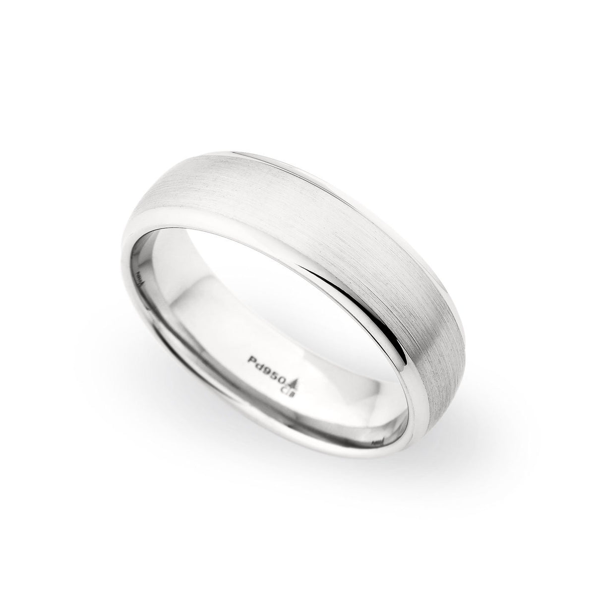 14K White Gold 6.5mm Brushed Polished Edge Band