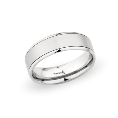 14K White Gold 7mm Brushed Polished Edge Band
