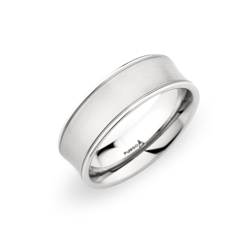 Palladium 75mm Brushed Concave Polished Edge Band: Concave Brushed Wedding Band At Websimilar.org