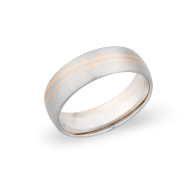 Palladium & 14K Rose Gold 7mm Brushed Mixed Band