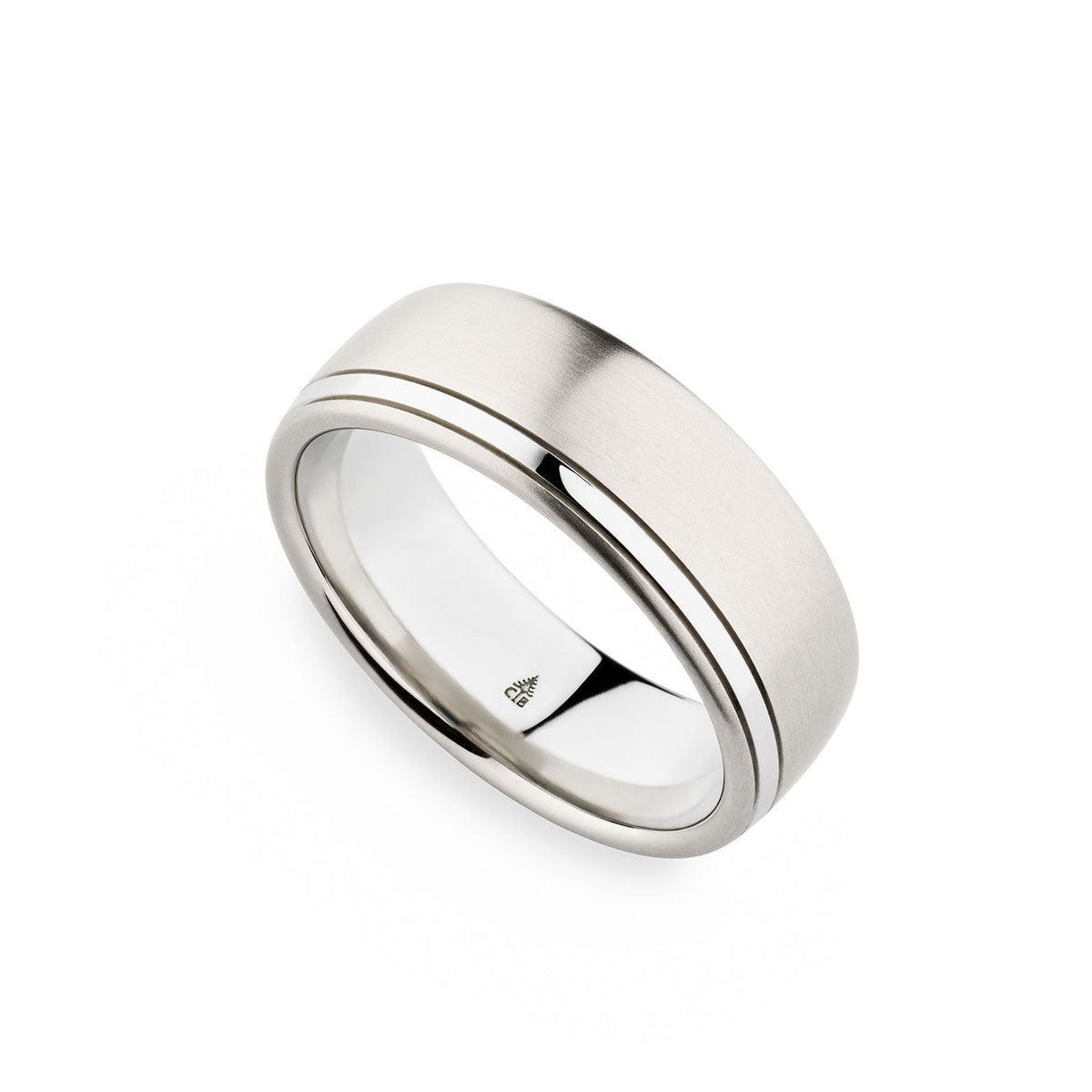 Palladium 7.5mm Brushed Polished Top Edge Band