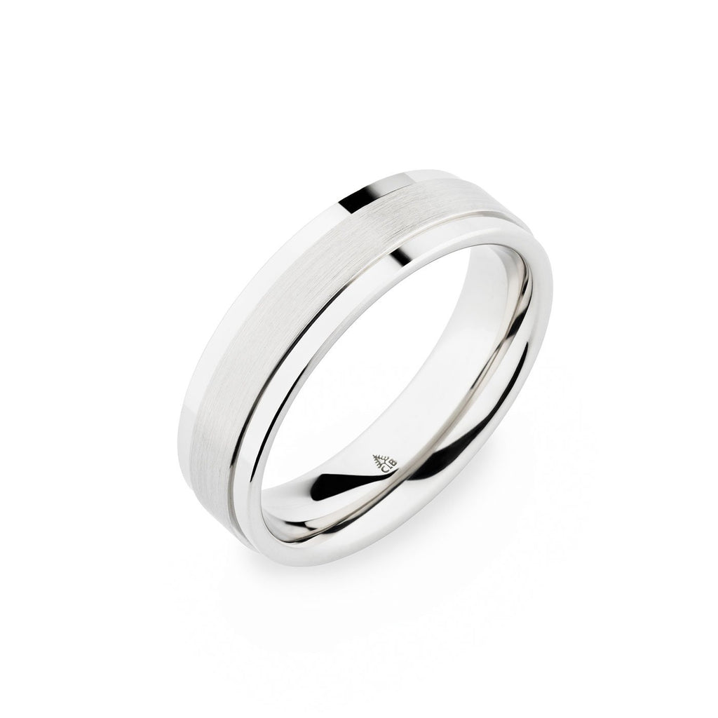 14K White Gold 6.2mm Brushed Raised Center Band