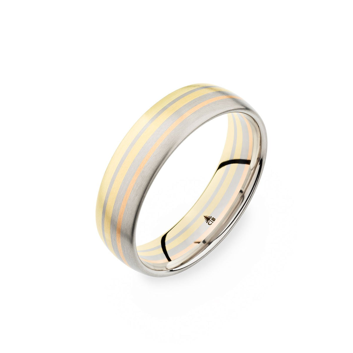 14K Yellow White Rose Gold 6mm Mixed Layer Brushed Band