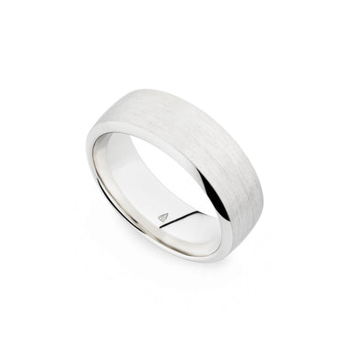 Palladium 8mm Brushed Flat Band