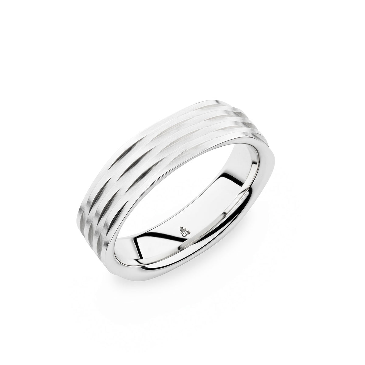 14K White Gold 6mm Grooved Band