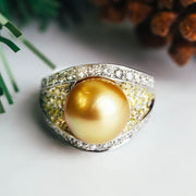 18K White Gold & Golden Pearl Diamond Ring