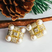 18K Yellow Gold Pearl Diamond Earrings