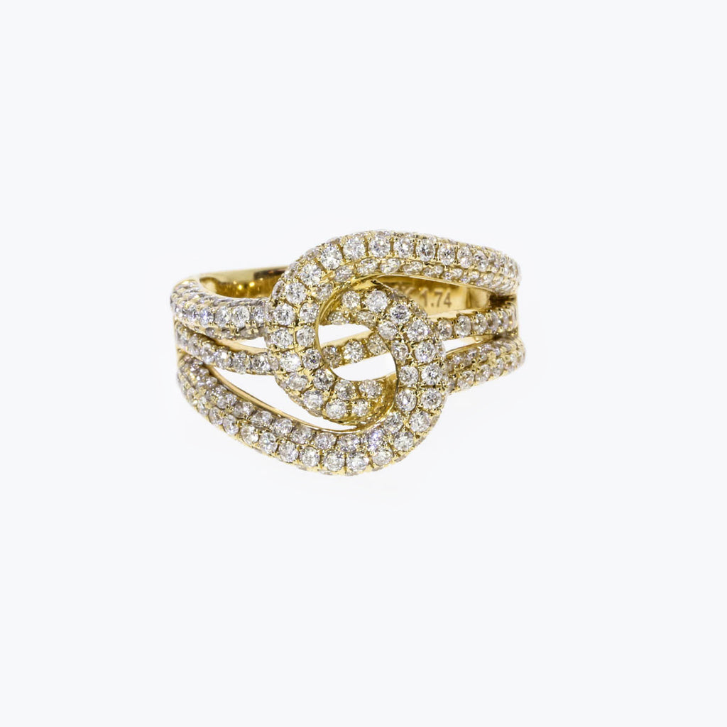 14K Yellow Gold Prong Set Wave Ring