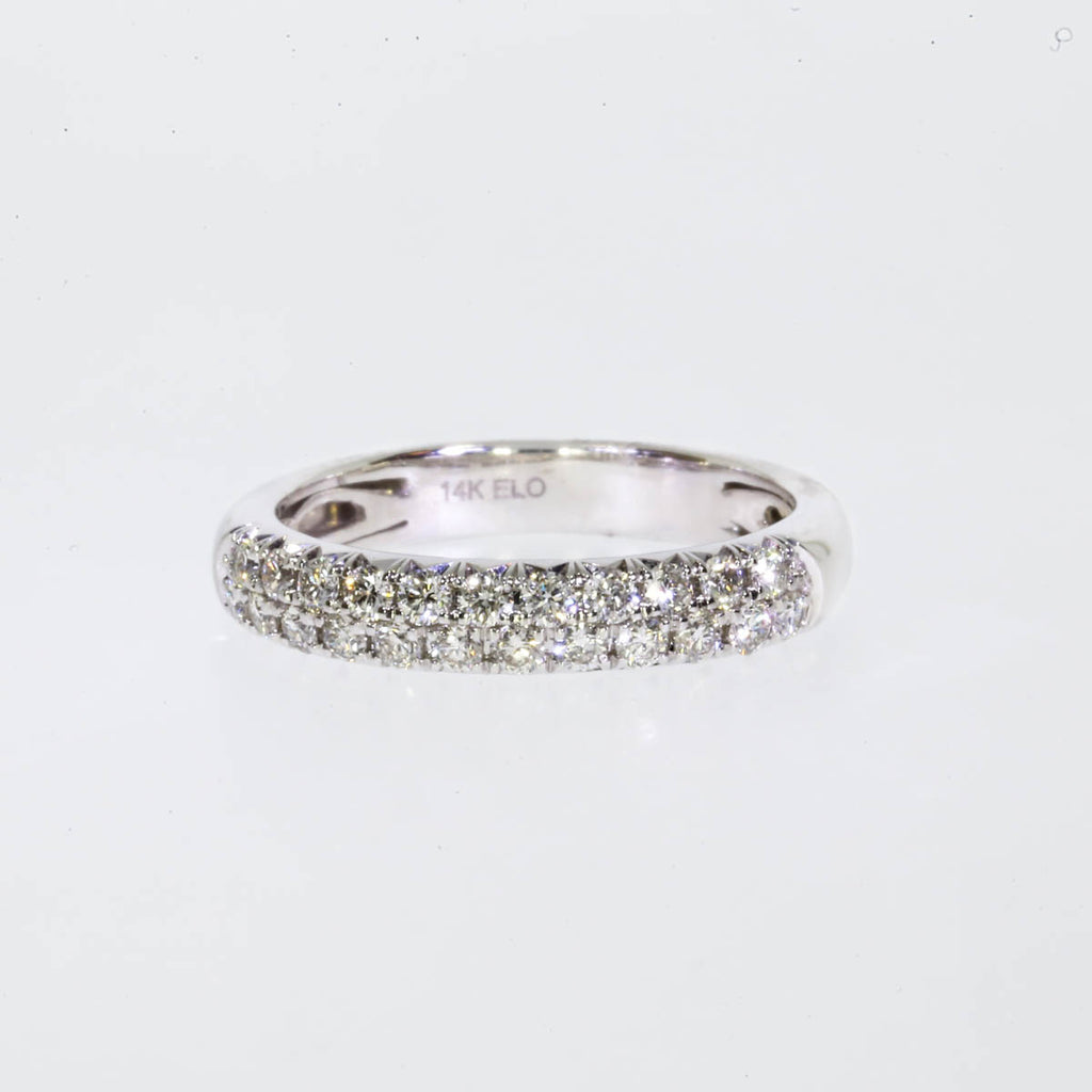 14K White Gold Pave Band