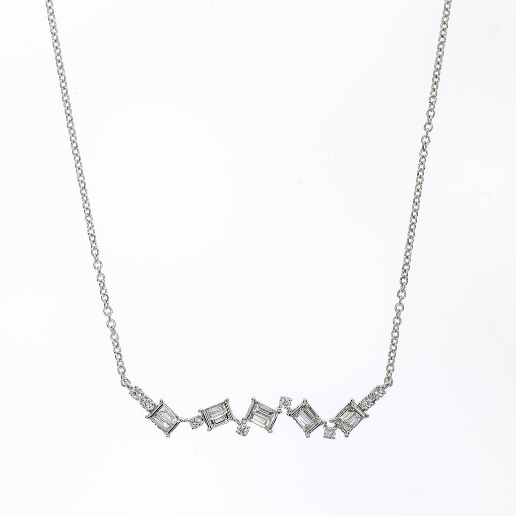 14K White Gold Channel Set Necklace